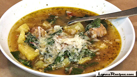 Slow Cooker Sausage, Potato and Swiss Chard Soup